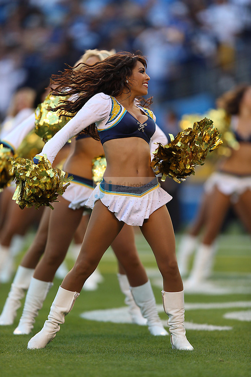 San Diego Chargers cheerleaders perform against the Baltimore Ravens during an NFL game on Sunday, November 25, 2012 in San Diego, CA.  (Photo by Jed Jacobsohn)