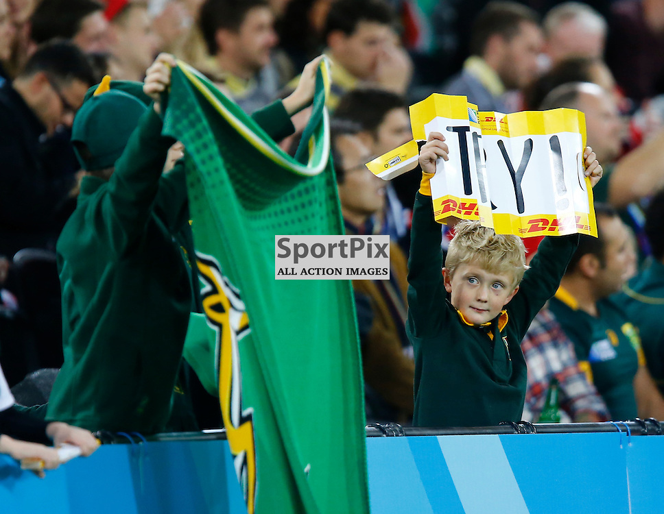 Young South Africa fans celebrate. Rugby World Cup group game from Pool B between South Africa and USA at The Stadium. Queen Elizabeth Olympic Park. (c) Matt Bristow | SportPix.org.uk