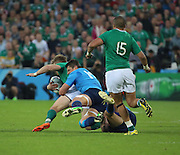 Italy's centre Michele Campagnaro with a last ditch tackle on Ireland centre Luke fitzgerald who was otherwise clean through during the Rugby World Cup Pool D match between Ireland and Italy at the Queen Elizabeth II Olympic Park, London, United Kingdom on 4 October 2015. Photo by Matthew Redman.