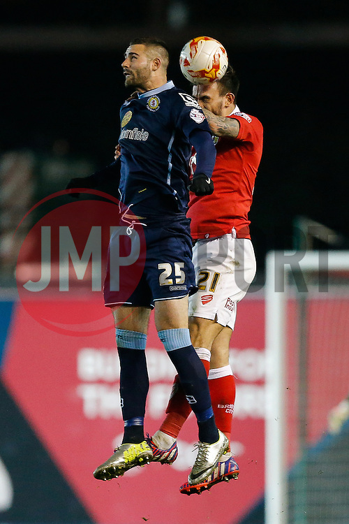 Marcus Haber of Crewe Alexandra and Marlon Pack of Bristol City compete in the air - Photo mandatory by-line: Rogan Thomson/JMP - 07966 386802 - 17/03/2015 - SPORT - FOOTBALL - Bristol, England - Ashton Gate Stadium - Bristol City v Crewe Alexandra - Sky Bet League 1.