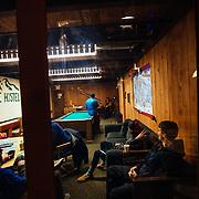 Derek Taylor interviewing team Hostel X members prior to Gelande Quaff competition.