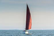 Koster med vinröda segel på havet nära Stockholms skärgårde