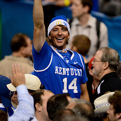 Apr 2, 2012; New Orleans, LA, USA; A Kentucky Wildcats fan celebrates in the stands following a win over the Kansas Jayhawks 67-59 in the finals of the 2012 NCAA men's basketball Final Four at the Mercedes-Benz Superdome. Mandatory Credit: Derick E. Hingle-US PRESSWIRE