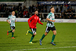 Alex Nicholson of Blyth Spartans and other players run accross to their fans after they win 1-2 to progress to the next round of the FA Cup - Photo mandatory by-line: Rogan Thomson/JMP - 07966 386802 - 05/12/2014 - SPORT - FOOTBALL - Hartlepool, England - Victoria Park - Hartlepool United v Blyth Spartans - FA Cup Second Round Proper.
