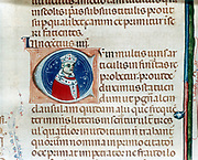 Pope Innocent IV (1243-1254) born Sinibaldo Fieschi. His belief in universal dominion of Papacy clashed with the  aim of Frederick II (1194-1250), Holy Roman Emperor, to expand Imperial power in Italy at expense of the church.    Depiction from initial letter of manuscript.