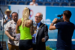 LIVERPOOL, ENGLAND - Sunday, June 18, 2017: Polona Hercog (SLO) receives the trophy from the Lord Mayor of Liverpool is Councillor Malcolm Kennedy during the Women's Final on Day Four of the Liverpool Hope University International Tennis Tournament 2017 at the Liverpool Cricket Club. (Pic by David Rawcliffe/Propaganda)