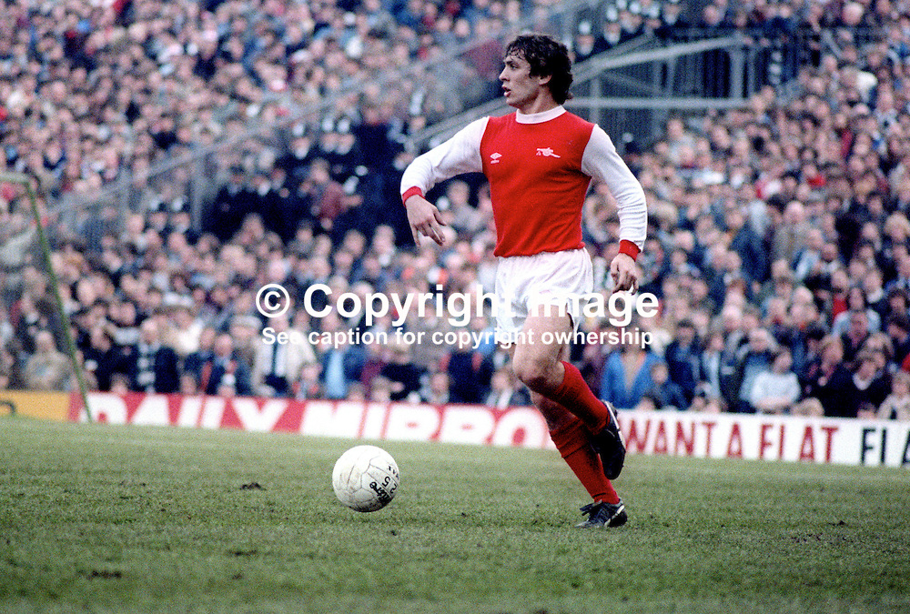 Kenny Samson, footballer, Arsenal FC, photographed during match on 27th February 1982 against Swansea. 198202270022b<br />