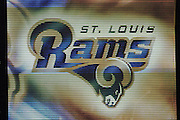 St. Louis Rams logo on the big screen at the Dome at America's Center, home of the Rams on 10/14/2001..©Wesley Hitt/NFL Photos