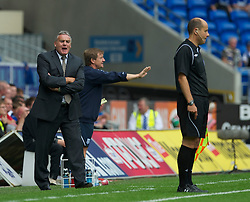 CARDIFF, WALES - Sunday, August 8, 2010: Cardiff City's manager Dave Jones argues with the assistant referee after the linesman disallowed a goal for off-side against Sheffield United during the League Championship match at the Cardiff City Stadium. (Pic by: David Rawcliffe/Propaganda)