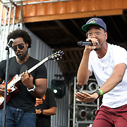 WASHINGTON, DC - August 11th, 2012 -  Rapper/producer Oddissee (right) performs at the inaugural Trillectro Festival at the Half Street Fairgrounds in Washington, D.C. Before his performance, Oddissee gave a shout out to his grandmother, who lives right around the corner. (Photo by Kyle Gustafson/For The Washington Post)