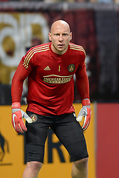November 11, 2018 - Atlanta, GA, U.S. - ATLANTA, GA Ð NOVEMBER 11:  Atlanta's Brad Guzan (1) during warm-ups prior to the start of the MLS Eastern Conference semifinal match between Atlanta United and NYCFC on November 11th, 2018 at Mercedes-Benz Stadium in Atlanta, GA.  Atlanta United FC defeated New York City FC by a score of 3 to 1 to advance in the playoffs.  (Photo by Rich von Biberstein/Icon Sportswire) (Credit Image: © Rich Von Biberstein/Icon SMI via ZUMA Press)