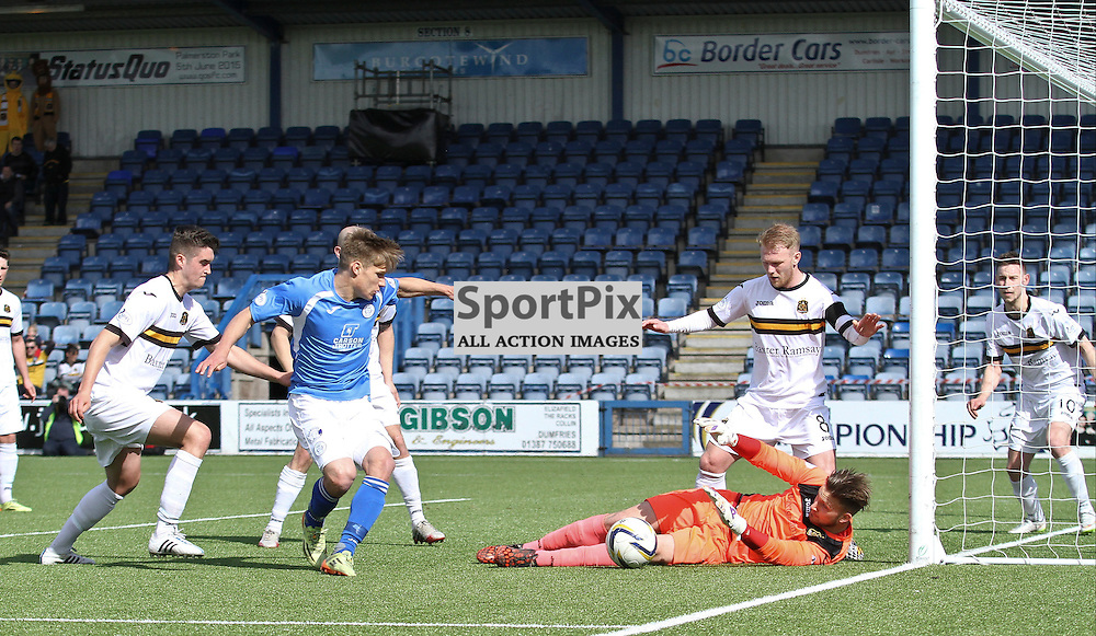 QOS Gavin Reilly is denied by Dumbartons Danny Rogers