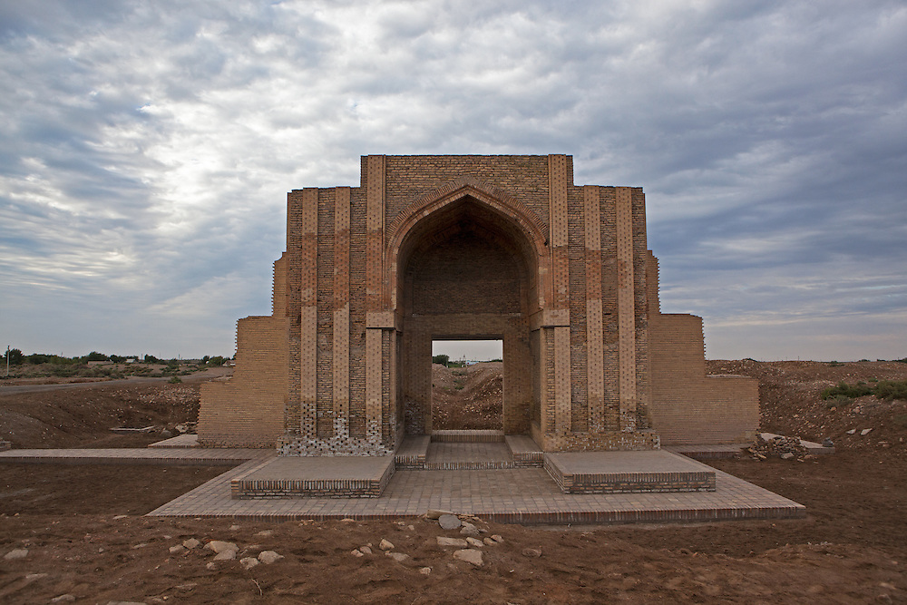 A portal to a building in the ruins of Konye-Urgench, Turkmenistan