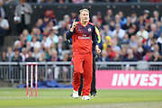 Lancashire Lightnings Matthew Parkinson wicket  during the Vitality T20 Blast North Group match between Lancashire Lightning and Leicestershire Foxes at the Emirates, Old Trafford, Manchester, United Kingdom on 30 August 2019.