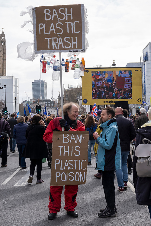 Ban Plastic Trash. Put It To The People march for a Peoples Vote on 23rd March 2019 in London, United Kingdom. With less than one week until the UK is supposed to be leaving the European Union, the final result still hangs in the balance and protesters gathered in their hundreds of thousands to make political leaders take notice and to give the British public a vote on the final Brexit deal. (photo by Andrew Aitchison / In Pictures via Getty Images)