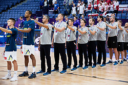 Matic Rebec of Slovenia, Anthony Randolph of Slovenia, Igor Kokoskov, coach of Slovenia, Rado Trifunovic, assistant coach of Slovenia, Jaka Lakovic, assistant coach of Slovenia, Aleksander Sekulic, assistant coach of Slovenia listening to the national anthem during basketball match between National Teams of Slovenia and Poland at Day 1 of the FIBA EuroBasket 2017 at Hartwall Arena in Helsinki, Finland on August 31, 2017. Photo by Vid Ponikvar / Sportida
