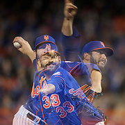 A multiple exposure of pitcher Matt Harvey, New York Mets, pitching during the New York Mets Vs Washington Nationals MLB regular season baseball game at Citi Field, Queens, New York. USA. 1st May 2015. Photo Tim Clayton