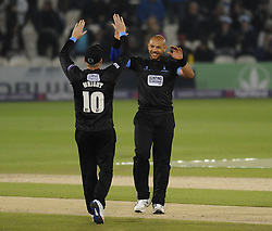 Sussex's Tymal Mills victory with Luke Wright.  - Mandatory by-line: Alex Davidson/JMP - 01/06/2016 - CRICKET - The 1st Central County Ground - Hove, United Kingdom - Sussex v Somerset - NatWest T20 Blast