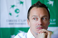 Radoslaw Szymanik - captain national team of Poland while press conference three days before the BNP Paribas Davis Cup 2014 between Poland and Croatia at Torwar Hall in Warsaw on April 1, 2014.<br /> <br /> Poland, Warsaw, April 1, 2014<br /> <br /> Picture also available in RAW (NEF) or TIFF format on special request.<br /> <br /> For editorial use only. Any commercial or promotional use requires permission.<br /> <br /> Mandatory credit:<br /> Photo by © Adam Nurkiewicz / Mediasport