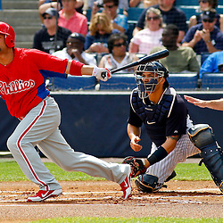 March 11, 2012; Tampa Bay, FL, USA; Philadelphia Phillies center fielder Shane Victorino (8) flies out during the top of the first inning of a spring training game against the New York Yankees at George M. Steinbrenner Field. Mandatory Credit: Derick E. Hingle-US PRESSWIRE