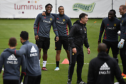 October 2, 2017 - Tubize, BELGIUM - Belgium's Michy Batshuayi and Belgium's Youri Tielemans pictured during a training of Belgian national soccer team Red Devils, Monday 02 October 2017 in Tubize. The Red Devils will play a World Championships 2018 Qualification game against Bosnia on October 7th and against Cyprus on October 10th. BELGA PHOTO DIRK WAEM (Credit Image: © Dirk Waem/Belga via ZUMA Press)