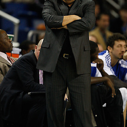 January 12, 2011; New Orleans, LA, USA; Orlando Magic head coach Stan Van Gundy watches from the bench during the first quarter against the New Orleans Hornets at the New Orleans Arena.   Mandatory Credit: Derick E. Hingle