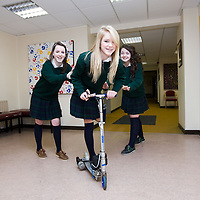 Young Scientist Students Caoihme Hoey, Alice Brogan & Claire Purcell students from Colaiste Mhuire Ennis Co, Clare pictured with their Solar Powered Scooter. <br /> Picture Credit: Brian Gavin Press 22