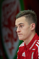 CARDIFF, WALES - Tuesday, November 10, 2015: Wales' Tom Lawrence during a press conference at the Cardiff City Stadium ahead of the International Friendly against the Netherlands. (Pic by David Rawcliffe/Propaganda)