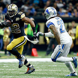 Dec 4, 2016; New Orleans, LA, USA; New Orleans Saints running back Mark Ingram (22) runs past Detroit Lions free safety Glover Quin (27) during the second quarter of a game at the Mercedes-Benz Superdome. Mandatory Credit: Derick E. Hingle-USA TODAY Sports