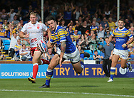 Tom Briscoe of Leeds Rhinos  races away to score the try against Hull Kingston Rovers during the Super 8s the Qualifiers match at Emerald Headingley  Stadium, Leeds<br /> Picture by Stephen Gaunt/Focus Images Ltd +447904 833202<br /> 01/09/2018