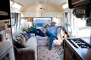 Celia Hess & Doug on the morning leaving Bigfork for Lake Havasu Arizona for the winter in their 1972 Airstream trailer