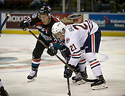 KELOWNA, CANADA - SEPTEMBER 24:  Connor Bruggen-Cate #20 of the Kelowna Rocketsand Rudolfs Balcers #21 of the Kamloops Blazers face off at the Kelowna Rockets game on September 24, 2016 at Prospera Place in Kelowna, British Columbia, Canada.  (Photo By Cindy Rogers/Nyasa Photography,  *** Local Caption ***