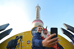 October 28, 2017 - Shanghai, China - Marcel KITTEL takes a selfie with Dieter 'Didi' Senft, a German cycling fan known as the Didi the Devil or El Diablo, during the 1st TDF Shanghai Criterium 2017 - Media Day..On Saturday, 28 October 2017, in Shanghai, China. (Credit Image: © Artur Widak/NurPhoto via ZUMA Press)