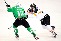 29.01.2017, Hala Tivoli, Ljubljana, SLO, EBEL, HDD Olimpija Ljubljana vs Moser Medical Graz 99ers, Platzierungsrunde, im Bild Galbort Gilbert of Olimpija vs Matthew Pelech of Graz 99ers // during the Erste Bank Icehockey League placement round match between HDD Olimpija Ljubljana and Moser Medical Graz 99ers at the Hala Tivoli in Ljubljana, Slovenia on 2017/01/29. EXPA Pictures © 2017, PhotoCredit: EXPA/ Sportida/ Morgan Kristan<br /> <br /> *****ATTENTION - OUT of SLO, FRA*****