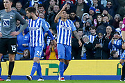 Brighton and Hove Albion striker Leonardo Ulloa (16) celebrates his goal applauds the fans during the The FA Cup match between Brighton and Hove Albion and Coventry City at the American Express Community Stadium, Brighton and Hove, England on 17 February 2018. Picture by Phil Duncan.