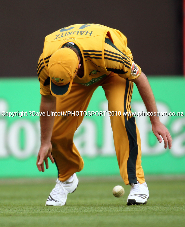 Australia's Nathan Hauritz fumbles the ball.<br /> Fifth Chappell-Hadlee Trophy one-day international cricket match - New Zealand v Australia at Westpac Stadium, Wellington. Saturday, 13 March 2010. Photo: Dave Lintott/PHOTOSPORT