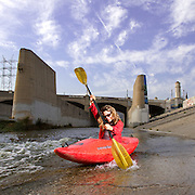Journalilst Anthea Raymond kayaks the LA River which was made a navigable waterway in 2010.