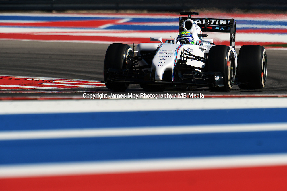 Felipe Massa (BRA) Williams FW36.<br /> United States Grand Prix, Friday 31st October 2014. Circuit of the Americas, Austin, Texas, USA.