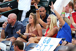 11 July 2012:  Several fans of Jonathan Johnson cheer for him during the Frontier League All Star Baseball game at Corn Crib Stadium on the campus of Heartland Community College in Normal Illinois