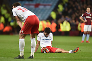 The Nottingham Forest players are dejected during the EFL Sky Bet Championship match between Aston Villa and Nottingham Forest at Villa Park, Birmingham, England on 28 November 2018.