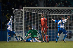 BRISTOL, ENGLAND - Thursday, January 15, 2009: Liverpool's Andre Wisdom looks dejected after bringing down Bristol Rovers' Nabi Diallo in the penalty area to concede a penalty during extra time of the FA Youth Cup match at the Memorial Stadium. (Mandatory credit: David Rawcliffe/Propaganda)