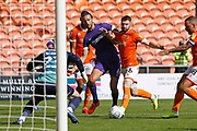 Christian Burgess of Portsmouth in the Blackpool box during the EFL Sky Bet League 1 match between Blackpool and Portsmouth at Bloomfield Road, Blackpool, England on 31 August 2019.