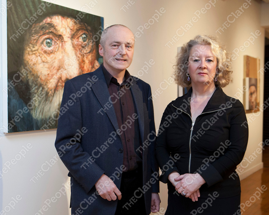Free Usage<br /> Eoin MacLochlainn and Patricia Moriarty, Bourn Vincent Gallery pictured at the launch of HOME, an exhibition of new work by artist Eoin Mac Lochlainn at the Bourn Vincent Gallery, University of Limerick.<br /> Pic: Don Moloney/Press 22<br /> New Exhibition in UL Portrays Reality of Social Problems in Ireland<br /> Home, an exhibition by Eoin Mac Lochlainn, was launched recently at the Bourn Vincent Gallery, UL by John Lonergan, Former Governor of Mountjoy Prison.  Eoin Mac Lochlainn's exhibition reflects current Irish society and the problems of homelessness, poverty and social disintegration.<br /> Eoin Mac Lochlainn's art challenges the depiction of homelessness in the media and seeks to engage viewer's in the realities of homelessness instead of automatically overlooking those who are marginalised in society.  Speaking at the launch Eoin Mac Lochlainn asked; &quot;Who is more fitting to be portrayed - a businessman, a bishop or a homeless person?   Also, which seems more important - the oil paintings on the wall, the cardboard drawings on the ground or the coffee cup towers?  As an artist I feel an empathy with those on the margins of society.  I see my role as observer, my work as bearing witness in some way.  I am interested in exploring how art may produce a deeper and more enduring understanding of the contemporary experience than do media images&quot;.<br /> Eoin Mac Lochlainn graduated as a mature student in 2000 from the National College of Art and Design.  His major exhibitions since graduation include Lorg at the RHA Ashford Gallery in 2002, &Eacute;agnairc/Requiem, which were installed in the cells of Kilmainham Gaol, in 2005 and Caoineadh/Elegies in 2008/9. <br /> <br /> The exhibition is open for viewing until 27th April, on Monday to Friday, 9.30am - 5.30pm.