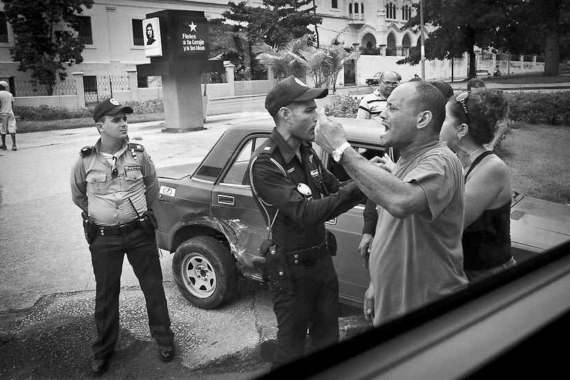 September 27, 2012 A heated conversation after a car accident in Havana, Cuba.