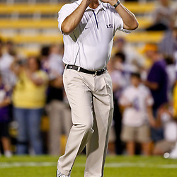 November 13, 2010; Baton Rouge, LA, USA; LSU Tigers offensive coordinator Gary Crowton on the field during warm ups prior to kickoff of a game against the Louisiana Monroe Warhawks at Tiger Stadium.  Mandatory Credit: Derick E. Hingle