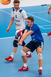 Bart Yark #11 of Sliedrecht Sport, Mart de Groot #11 of Sliedrecht Sport in action in the second round between Sliedrecht Sport and Draisma Dynamo on February 29, 2020 in sports hall de Basis, Sliedrecht