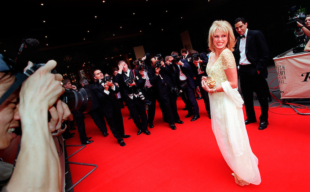 Joanna Lumley at the Bafta TV Awards at the Grosvenor Hotel.poses for the photographers