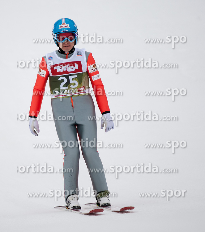 03.01.2015, Bergisel Schanze, Innsbruck, AUT, FIS Ski Sprung Weltcup, 63. Vierschanzentournee, Innsbruck, Qalifikations-Sprung, im Bild Marat Zhaparov (EST) // Marat Zhaparov of Estonia reacts after his qualification jump for the 63rd Four Hills Tournament of FIS Ski Jumping World Cup at the Bergisel Schanze in Innsbruck, Austria on 2015/01/03. EXPA Pictures © 2015, PhotoCredit: EXPA/ Jakob Gruber