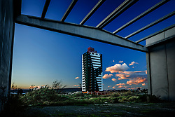 """Industrial park """"Los Lucas"""".<br /> Abarán, Murcia.<br /> When it was presented in 2006, """"Los Lucas"""" was meant to be the new economic motor of Abarán. Today it is a 468,000 m² surface covered by weeds and unfinished industrial premises, plus the empty shell 16-floor building."""