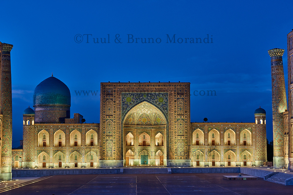 Ouzbékistan, Samarcande, classé Patrimoine Mondial de l'UNESCO, place du Reghistan, Medersa Tilla Kari // Uzbekistan, Samarkand, Unesco World Heritage, the Reghistan, Tilla Kari Madrasah